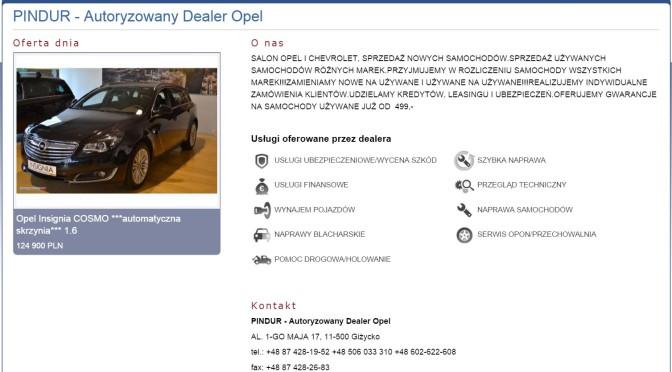PINDUR dealer Opel i Chevrolet